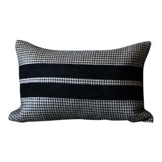 Suede Houndstooth Lumbar Pillow Cover For Sale