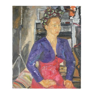 Modernist Portrait of a Woman in Oil, 2000s For Sale