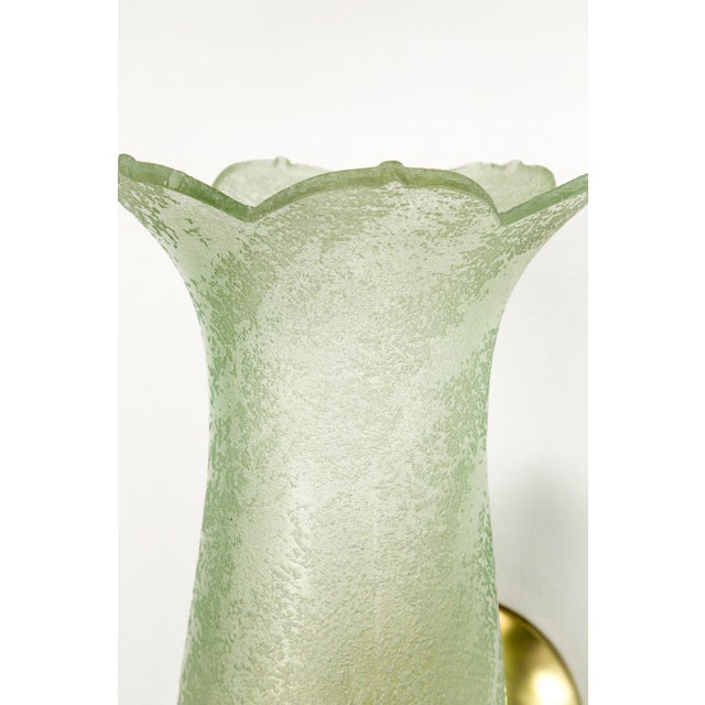 Antique Pale Green Textured Glass Bellflower Scroll Arm Sconces - a Pair For Sale - Image 12 of 13