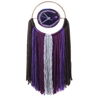 A Y A | Modern Purple Agate Fringe Wall Hanging Clock