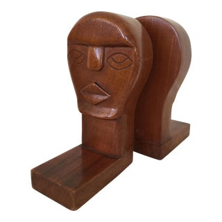 Modernist Wood Sculpture Bookends - A Pair For Sale