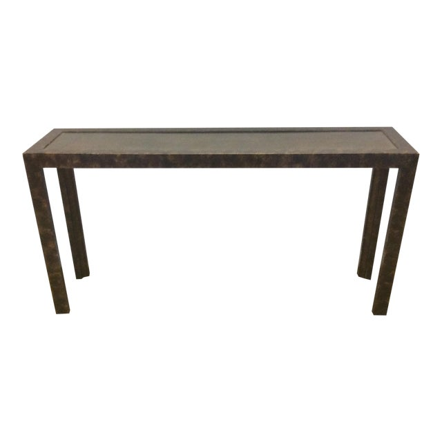 Widdicomb Brass & Faux Tortoise Console Table - Image 1 of 7