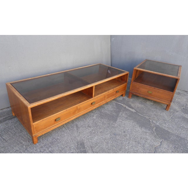 This vintage Danish mid century modern walnut coffee table & end table with smokey glass is a unique set in great vintage...
