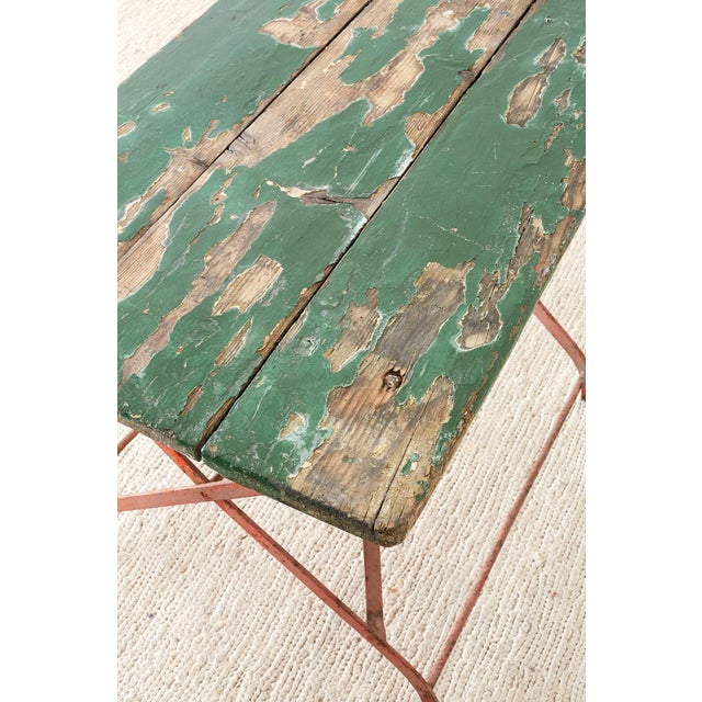 French Folding Iron Garden or Bistro Style Dining Table For Sale In San Francisco - Image 6 of 13