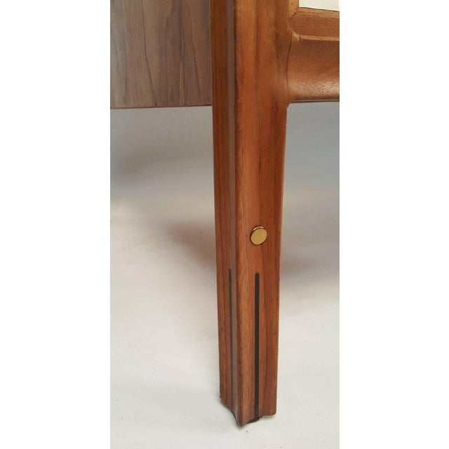 Wood Walnut Campaign Desk with Leather Top and Drawers Gerry Zanck For Sale - Image 7 of 9