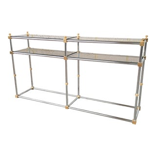 Maison Jansen Chrome, Brass, And Smoked Glass Foyer Entry Console Table For Sale
