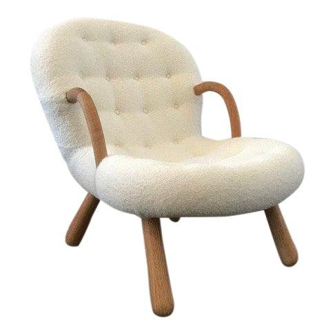 "Philip Arctander Style ""Clam"" Chair. Completely restored in a luxurious soft Boucle fabric..Extremely heavy frames solid..."