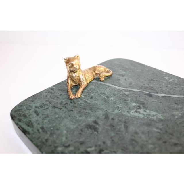 1970s Vintage Green Marble Tray With Gold Leopard Serving Knives, 1970's For Sale - Image 5 of 12