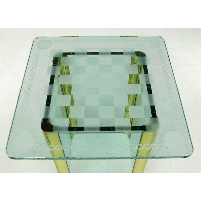 Elegant Etched Glass Game Table In The Style Of Pace Collection - Image 6 of 8