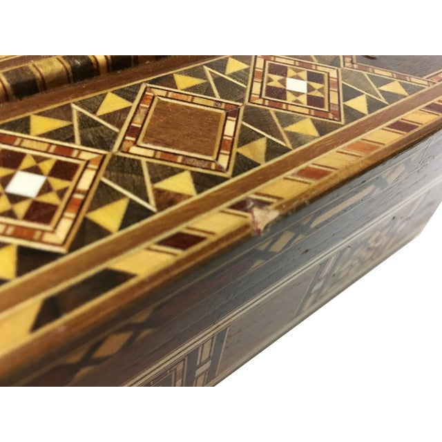 Brown Middle Eastern Handmade Engraved Inlaid Mosaic Wooden Box For Sale - Image 8 of 9