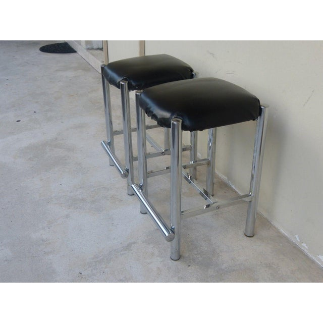 2 Fab heavy backless 1970's chrome bar stools sold as found in good vintage condition showing only very minor signs of...