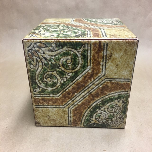 Wonderful cachepot or plant stand/riser made of beautifully glazed Italian tiles. Earth tone palette.