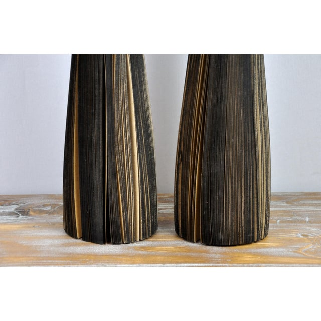 Pair of Reclaimed Craft Paper Designer Minialist Vases Like New For Sale - Image 9 of 13
