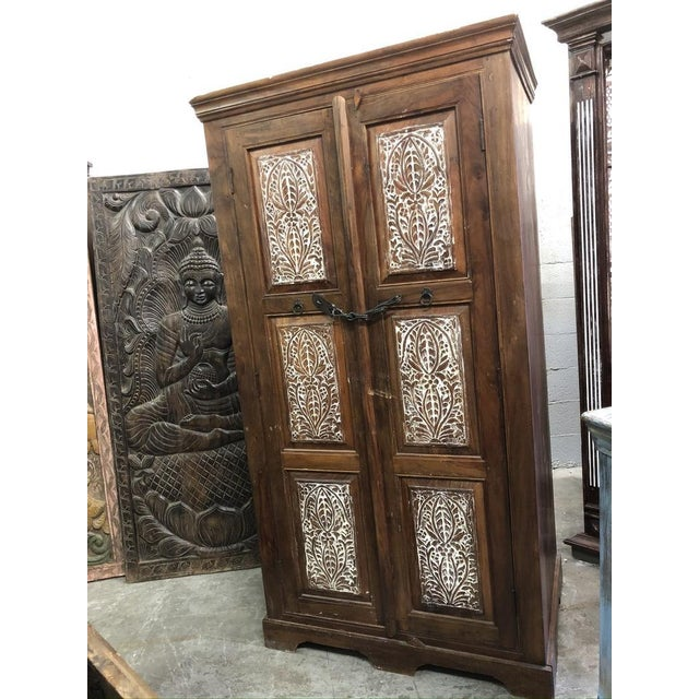 This beautiful armoire is made with reclaimed wood, an exceptional piece, rustic carved Handcrafted Armoire Wardrobe with...