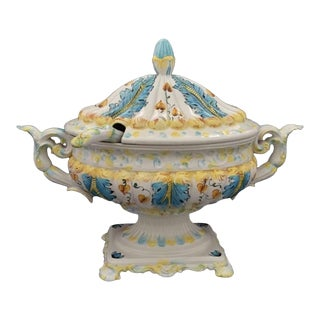 1960s Pedestal Majolica Soup Tureen or Centerpiece With Ladle For Sale