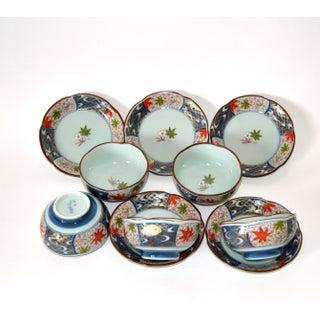 Vintage Cherry Blossom Shaped Celadon Arita Imari Cups, Saucers & Box - Set of 10 Preview