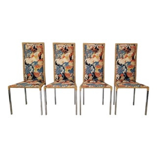Amazing Set of Four High Back Wicker and Chrome Dining Chairs . For Sale