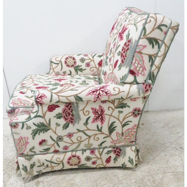 Farmhouse Floral Crewelwork Club Chair For Sale - Image 3 of 5