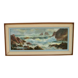 Mid -Century Modern Seascape Ocean View Oil Painting, Framed For Sale