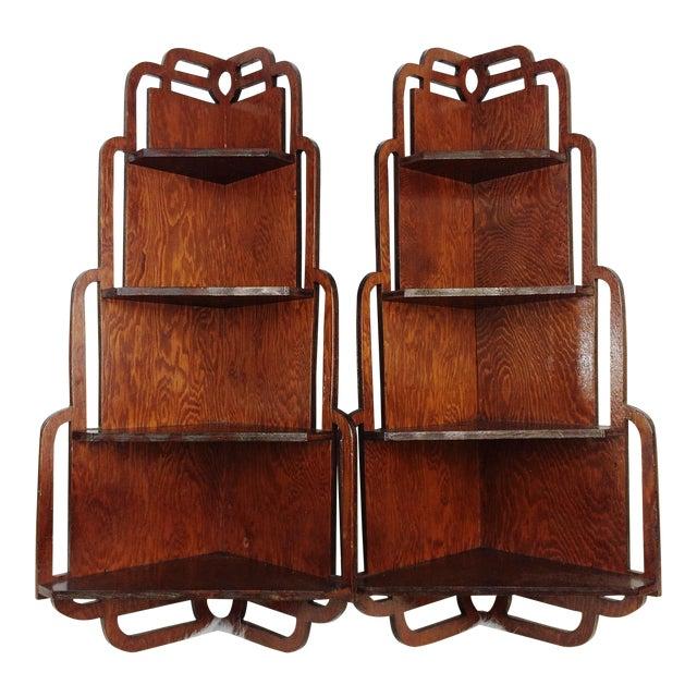 Vintage Wood Corner Curio Display Shelves - A Pair - Image 1 of 6