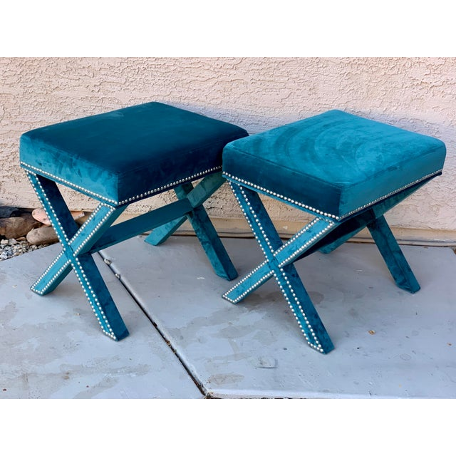 Metal Teal Velvet X Form Bench Seats - a Pair For Sale - Image 7 of 7