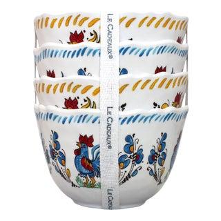 Rooster Blue Melamine Dessert Bowls, Set of 4 For Sale