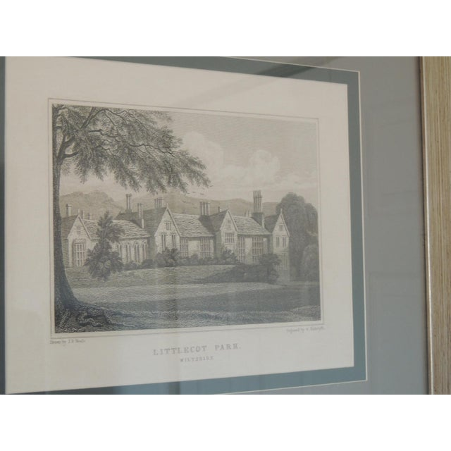 "Museum quality framing and matting depicting Manor and grounds. ""Littlecot Park"" Wiltshire Dark and light gray matting..."