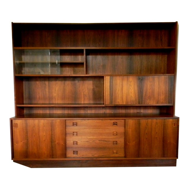 Vintage Mid Century Danish Rosewood Bookcase Wall Unit Buffet Bar Cabinet Storage Book Shelf