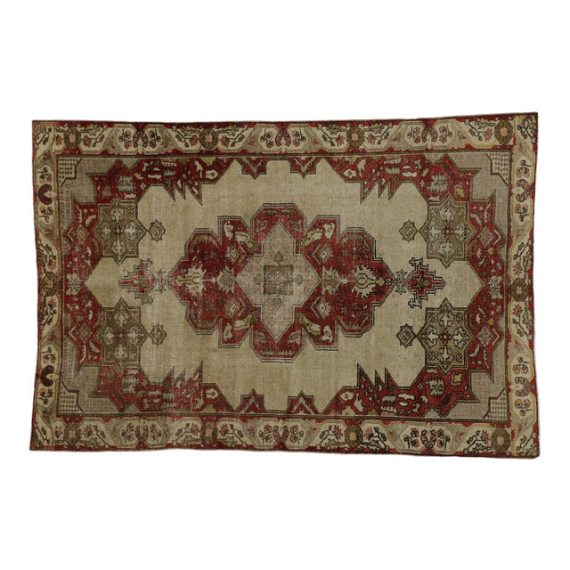 Vintage Turkish Oushak Rug With Art Deco Aristocrat Style - 04'08 X 06'11 For Sale