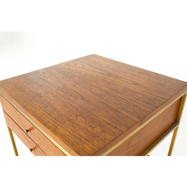 Brown Paul McCobb for Calvin Group Mid Century Oak and Brass Nightstand For Sale - Image 8 of 13
