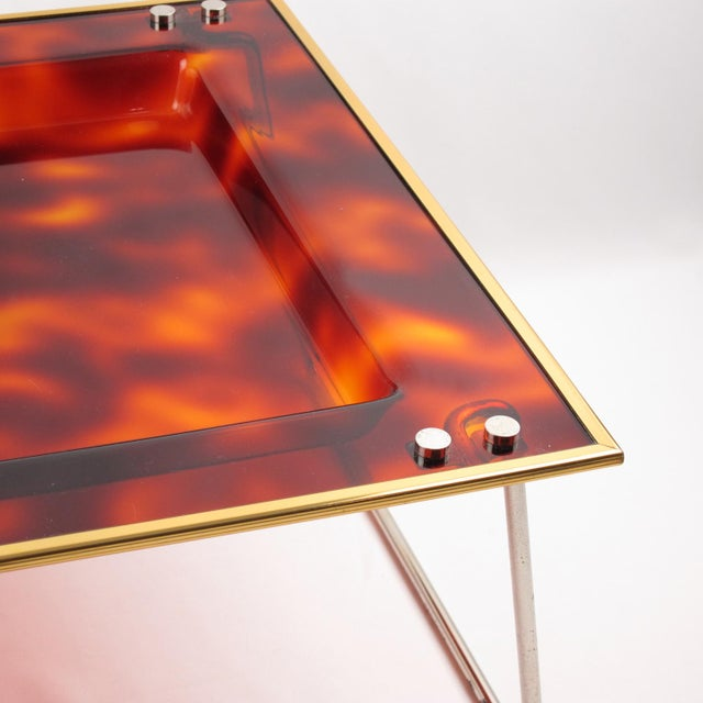 Gold Mid-Century Italian Tortoise Lucite Barware Folding Serving Tray For Sale - Image 8 of 11