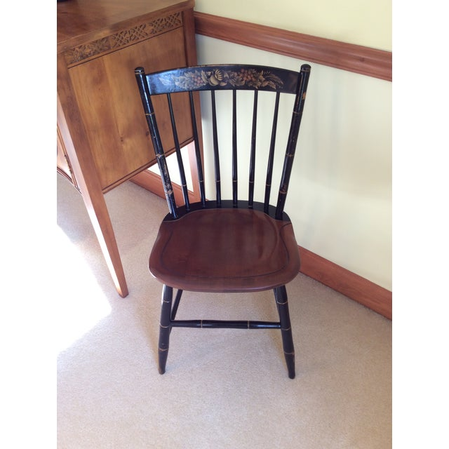 Hitchcock Country Side Chair in Black With Harvest Stained Seat For Sale - Image 10 of 11