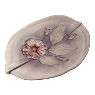 Mikasa Purple and Pink Leaf Shaped Serving Platter For Sale