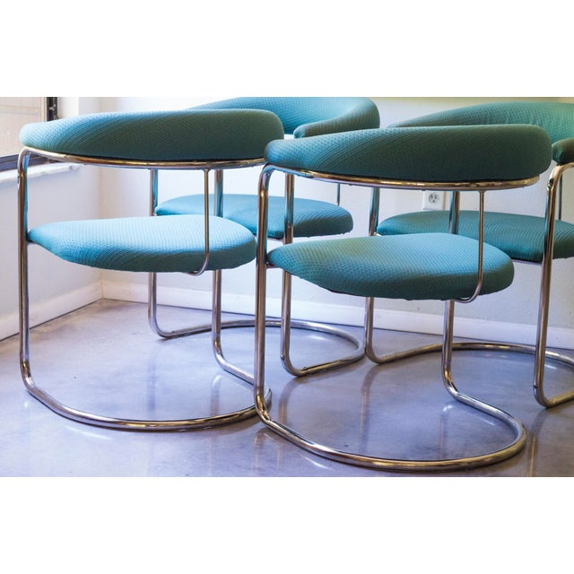 Thonet Tubular Chrome Teal Dining Chairs- Set of 4 - Image 5 of 9