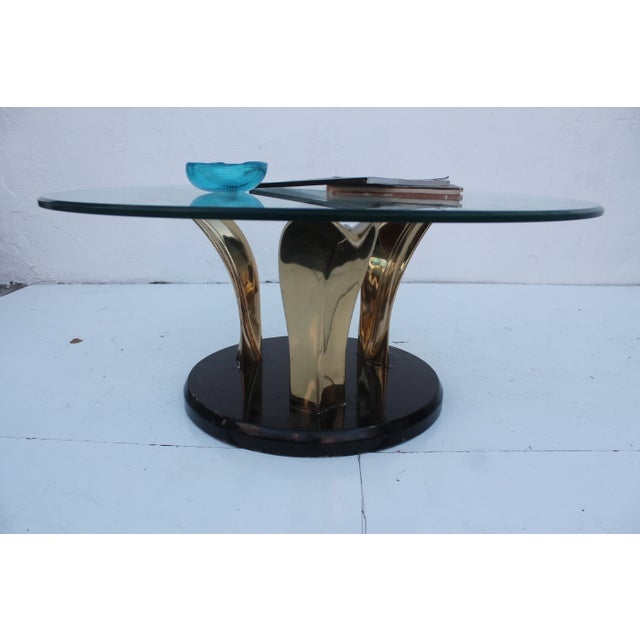 Lacquer & Brass Palm Leaf Coffee Table For Sale - Image 4 of 10