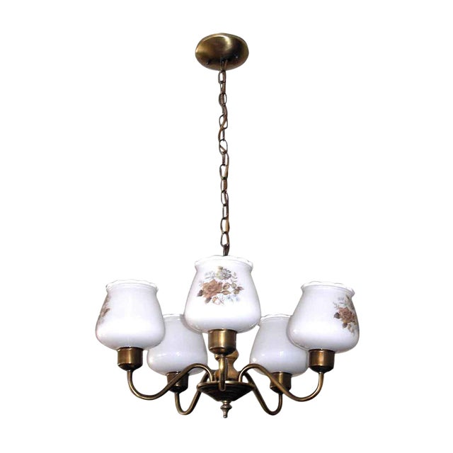 Floral Glass Shades Chandelier For Sale