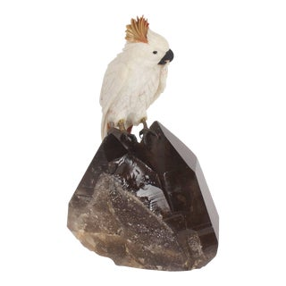 Amusing Carved Hardstone Quartz Cockatoo For Sale