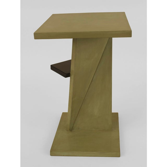 French Art Deco Ebonized And Light Green Lacquered End Table For Sale - Image 4 of 6
