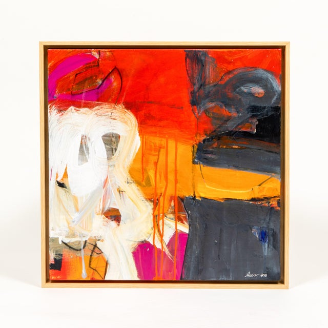 """Abstract Robin Crutcher Original """"Orange & Red"""" Painting For Sale - Image 3 of 3"""