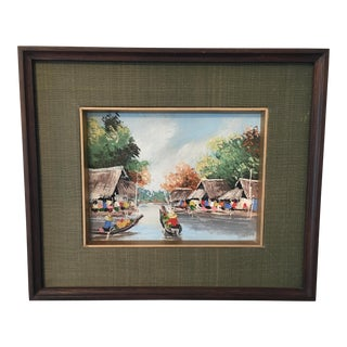 Vintage Asian River Scene Painting For Sale