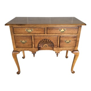 Ethan Allen 1776 Circa Collection Chippendale Style 5 Drawer Lowboy For Sale