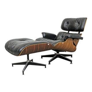 Mid-Century Modern Eames Herman Miller Rosewood Lounge Chair 670 & Ottoman 671