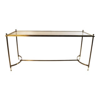 Neoclassical Style Glass Brass Console Table Maison Jansen Style For Sale