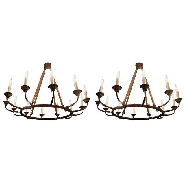 Pair of Twelve-Arm Metal Chandeliers of Large-Scale. Priced Per Chandelier For Sale - Image 4 of 4