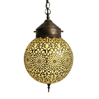 Brass Lace Yellow Glass Pendant For Sale