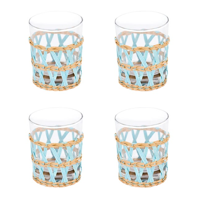 Light Blue Seagrass Wrapped Tumblers - Set of 4 - Image 1 of 3