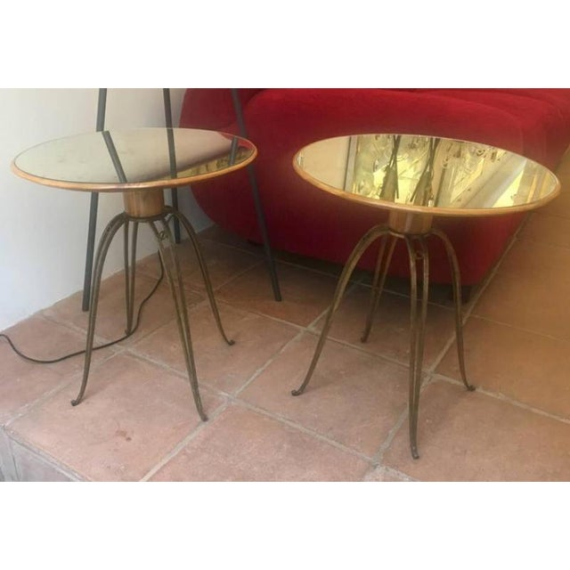 Gold Leaf Rene Prou Rare Refined Pair of Side Table in Sycamore and Gold Leaf Wrought Iron For Sale - Image 7 of 9
