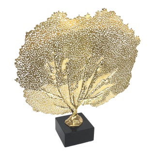 Regina Andrew Modern Brass Finished Sea Fan Sculpture on Stand For Sale