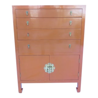 Vtg 1970s Chinese Lacquered Burnt Orange Tall Chest Dresser Cabinet Hong Kong For Sale