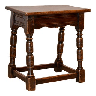 19th C English Oak Joint Stool For Sale